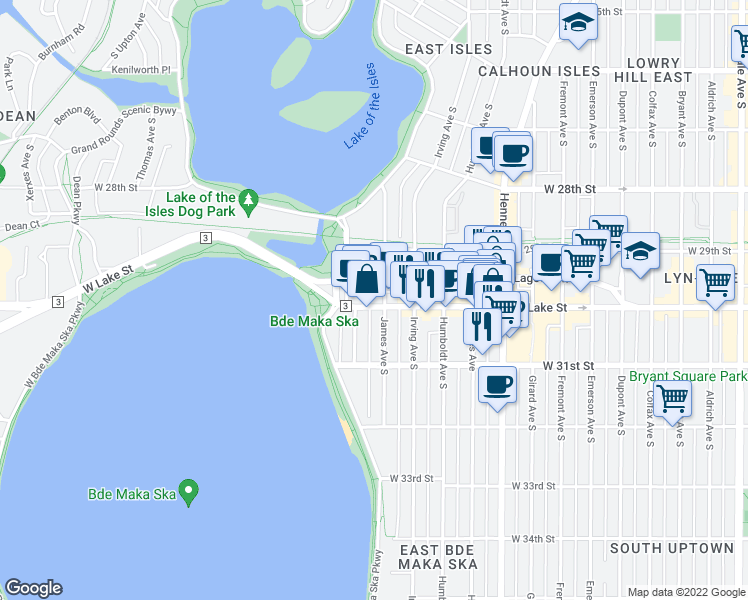 map of restaurants, bars, coffee shops, grocery stores, and more near 1710 West Lake Street in Minneapolis