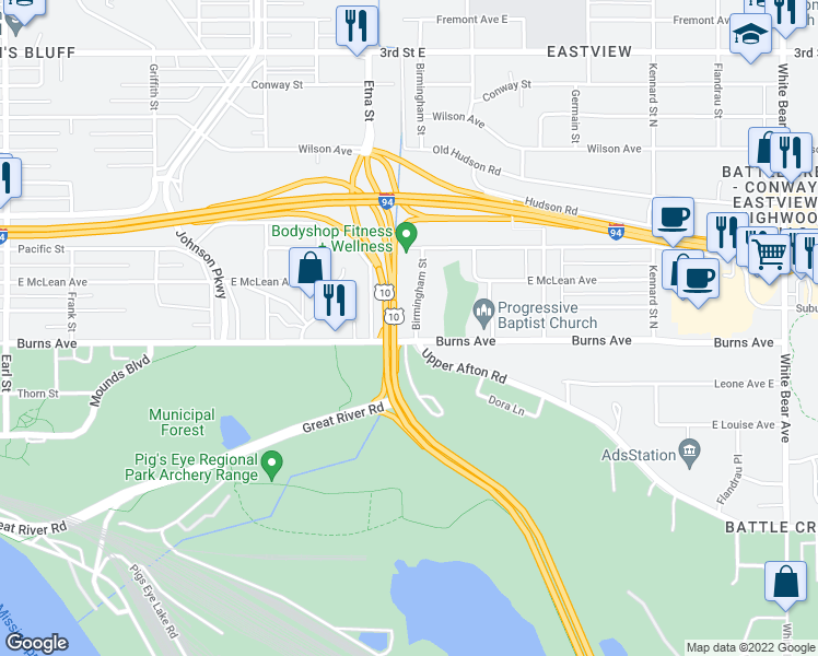 map of restaurants, bars, coffee shops, grocery stores, and more near 880-906 Atlantic Street in Saint Paul
