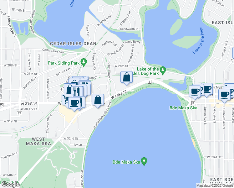 map of restaurants, bars, coffee shops, grocery stores, and more near W Lake St & Dean Pkwy in Minneapolis