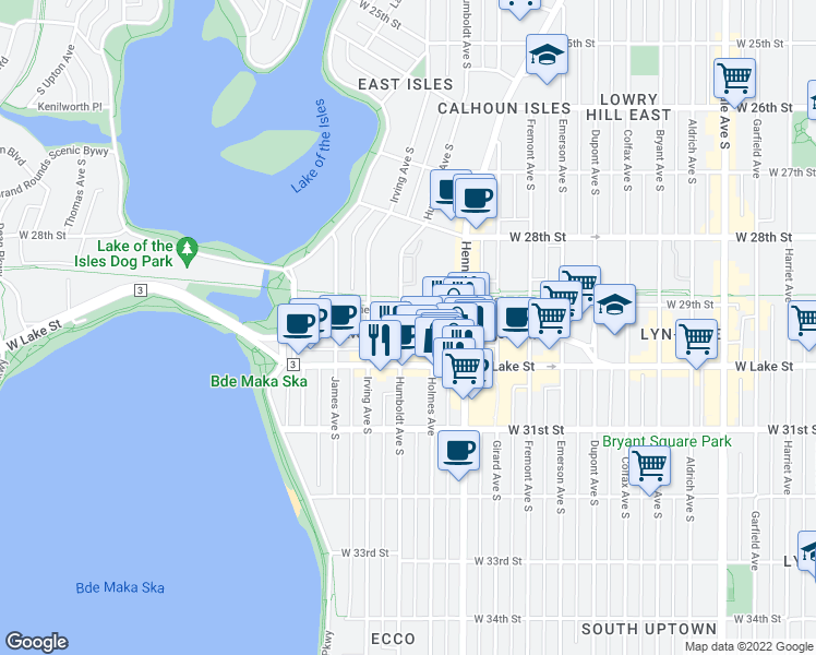 map of restaurants, bars, coffee shops, grocery stores, and more near 1456 Lagoon Avenue in Minneapolis