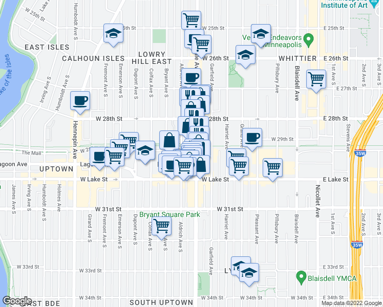 map of restaurants, bars, coffee shops, grocery stores, and more near 2900 Lyndale Avenue South in Minneapolis
