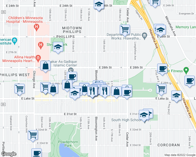 map of restaurants, bars, coffee shops, grocery stores, and more near 2845 Bloomington Avenue in Minneapolis