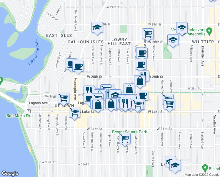 map of restaurants, bars, coffee shops, grocery stores, and more near 2839 Dupont Avenue South in Minneapolis