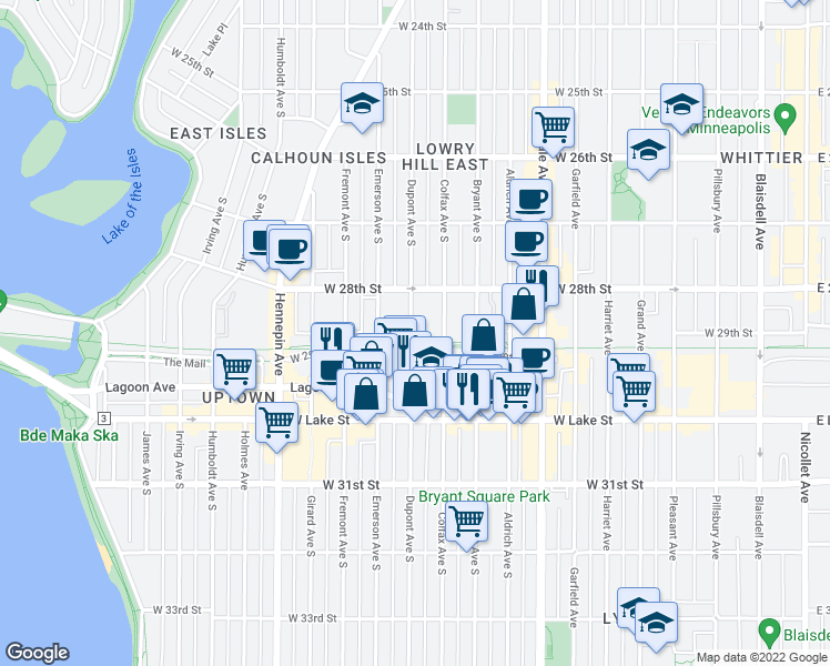 map of restaurants, bars, coffee shops, grocery stores, and more near 2837 Dupont Avenue South in Minneapolis