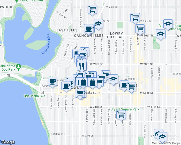 map of restaurants, bars, coffee shops, grocery stores, and more near 2838 Fremont Avenue South in Minneapolis