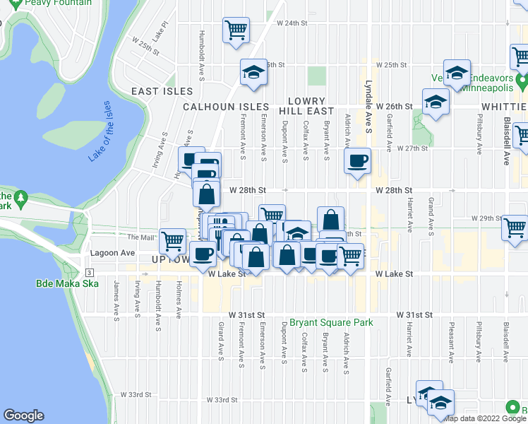 map of restaurants, bars, coffee shops, grocery stores, and more near 2837 Emerson Avenue South in Minneapolis