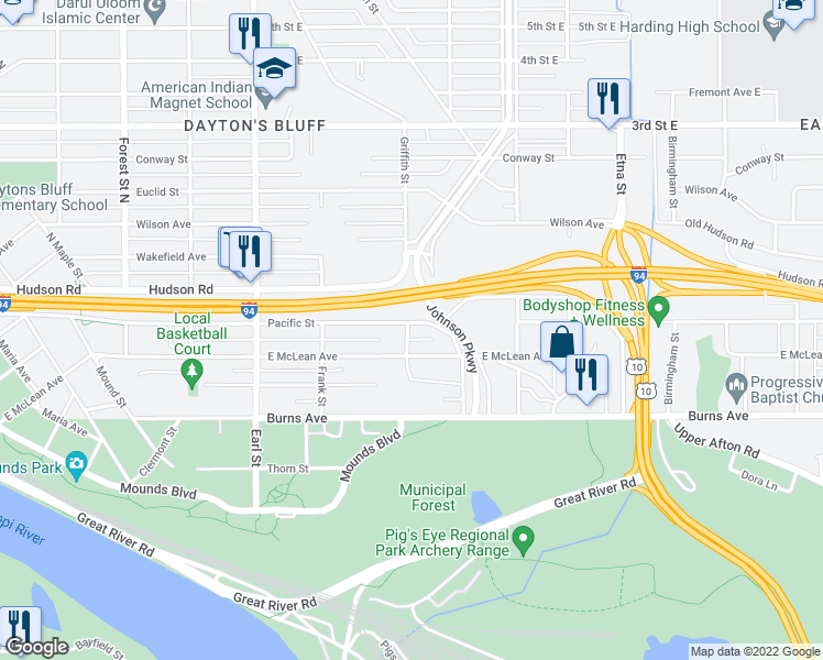 map of restaurants, bars, coffee shops, grocery stores, and more near 1206 Pacific Street in Saint Paul