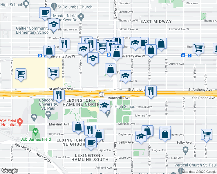 map of restaurants, bars, coffee shops, grocery stores, and more near 375 Lexington Pkwy N in St Paul