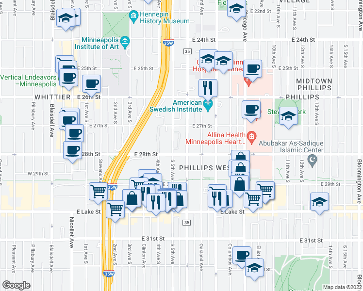 map of restaurants, bars, coffee shops, grocery stores, and more near 2730 Portland Avenue South in Minneapolis