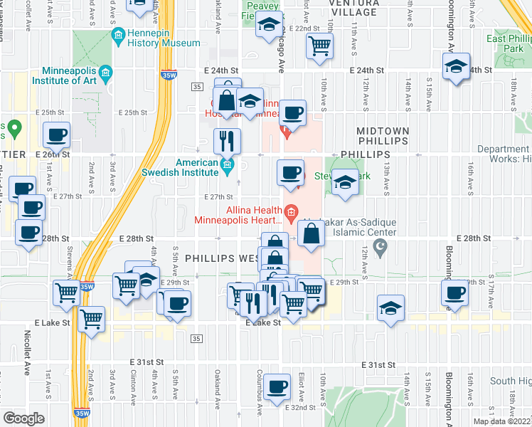 map of restaurants, bars, coffee shops, grocery stores, and more near 2721 Columbus Ave in Minneapolis