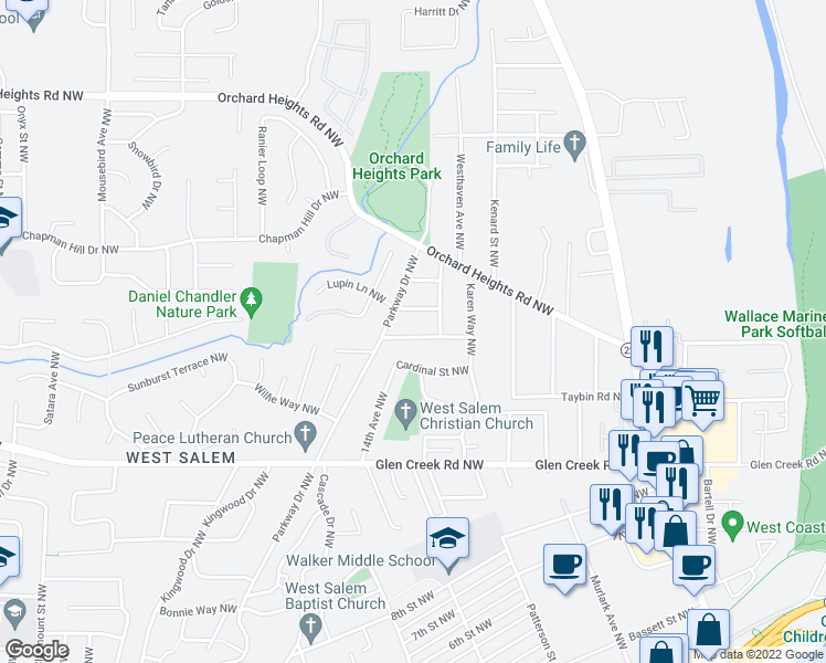 map of restaurants, bars, coffee shops, grocery stores, and more near 1179 Larkspur Lane Northwest in Salem