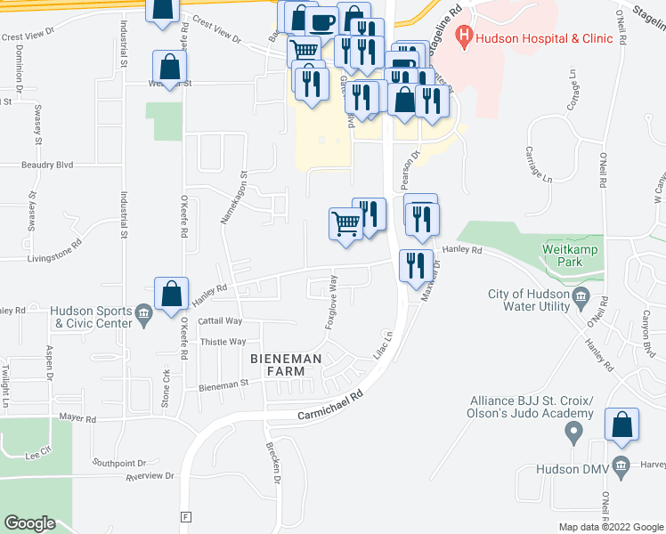 map of restaurants, bars, coffee shops, grocery stores, and more near 2310-2314 Foxglove Way in Hudson