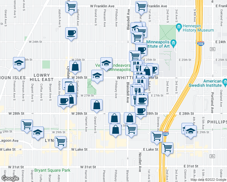 map of restaurants, bars, coffee shops, grocery stores, and more near 2636 Pillsbury Avenue in Minneapolis