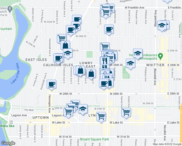 map of restaurants, bars, coffee shops, grocery stores, and more near 2634 Bryant Avenue South in Minneapolis