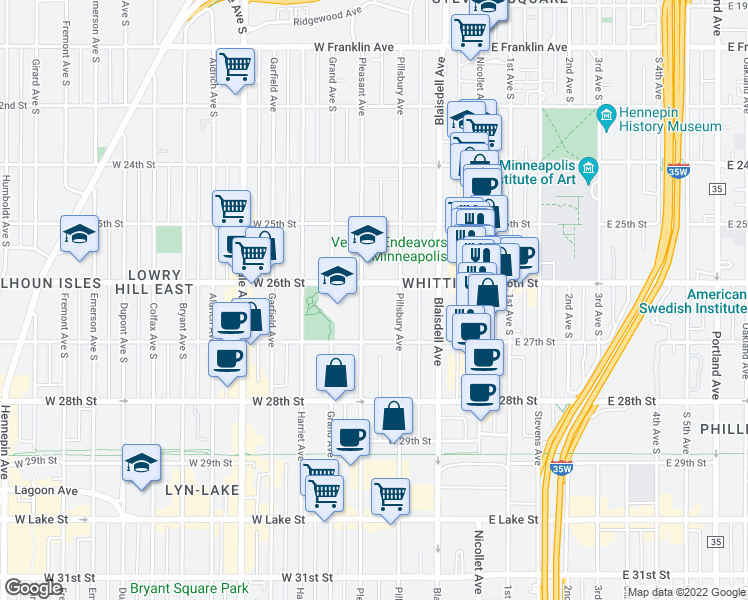 map of restaurants, bars, coffee shops, grocery stores, and more near 2612 Pillsbury Avenue South in Minneapolis