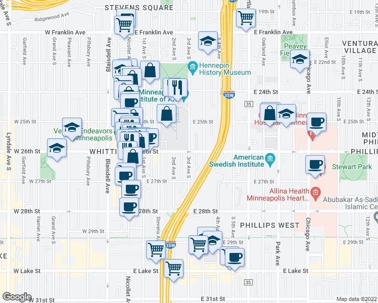 map of restaurants, bars, coffee shops, grocery stores, and more near East 26th Street & 3rd Avenue South in Minneapolis