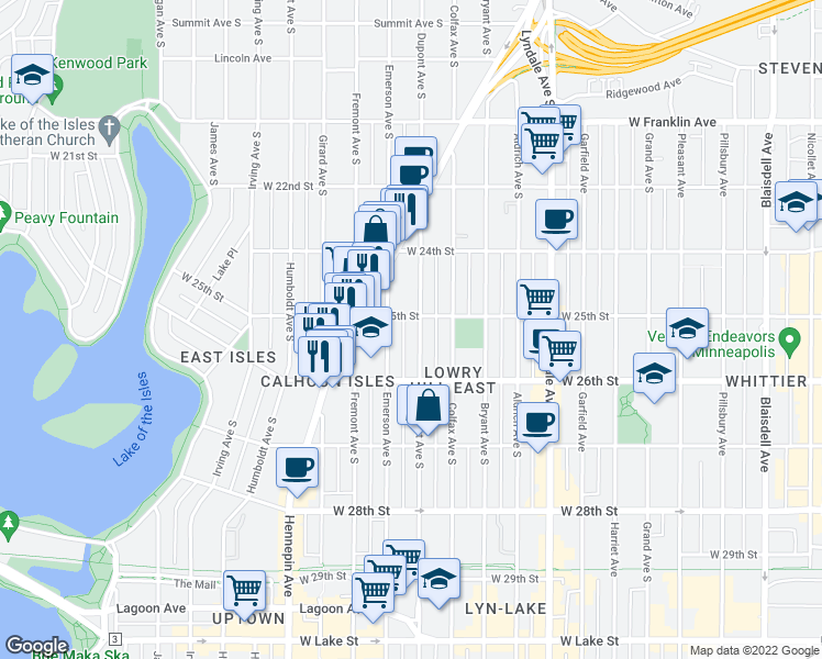 map of restaurants, bars, coffee shops, grocery stores, and more near 2508 Dupont Ave S in Minneapolis