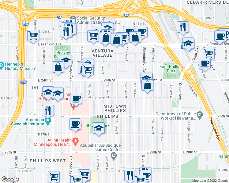 map of restaurants, bars, coffee shops, grocery stores, and more near 2434 13th Avenue South in Minneapolis