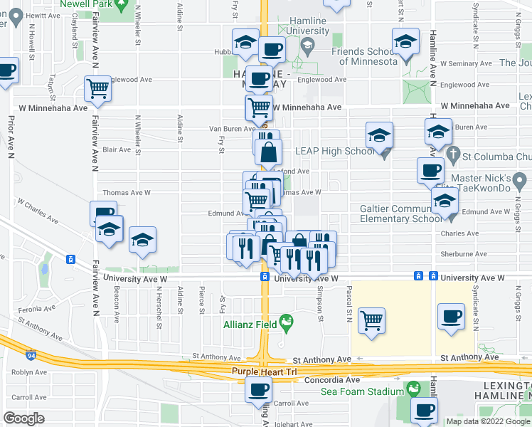 map of restaurants, bars, coffee shops, grocery stores, and more near N Snelling Ave & W Edmund Ave in St Paul