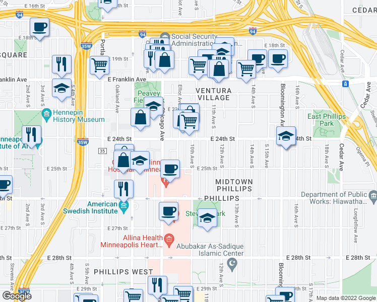 map of restaurants, bars, coffee shops, grocery stores, and more near 2420 10th Avenue South in Minneapolis