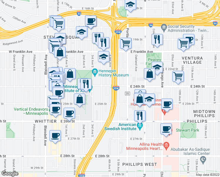 map of restaurants, bars, coffee shops, grocery stores, and more near 2430 4th Avenue South in Minneapolis