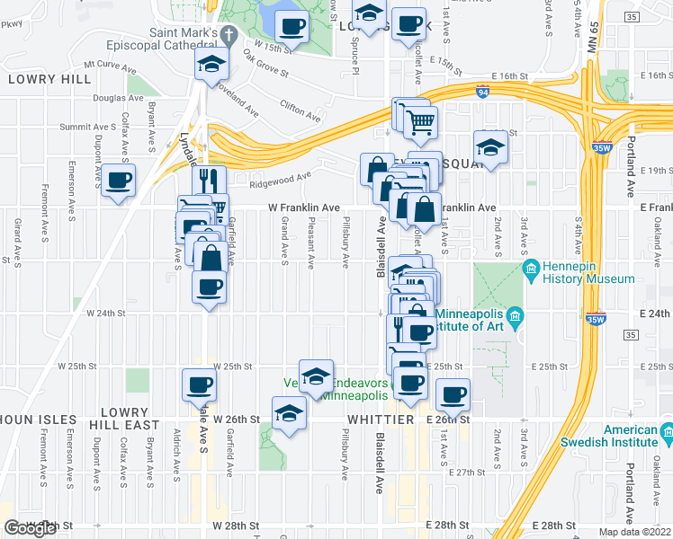 map of restaurants, bars, coffee shops, grocery stores, and more near 2200 Pillsbury Avenue South in Minneapolis