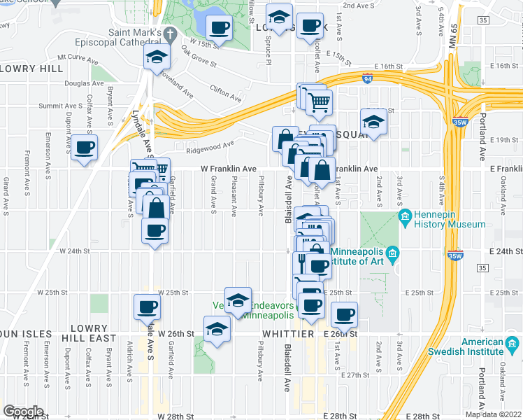map of restaurants, bars, coffee shops, grocery stores, and more near Pillsbury Ave S & W 22nd St in Minneapolis