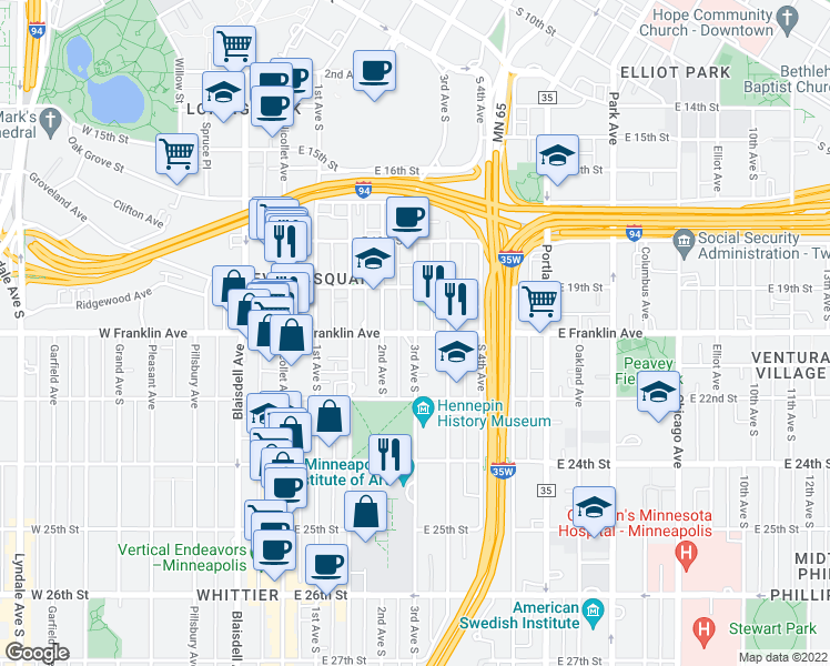 map of restaurants, bars, coffee shops, grocery stores, and more near E Franklin Ave & 3rd Ave S in Minneapolis