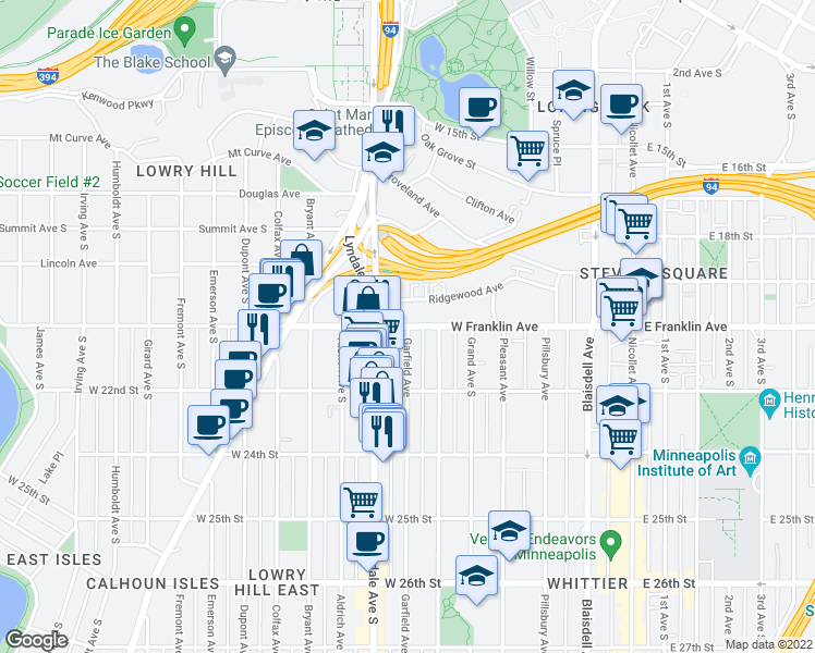 map of restaurants, bars, coffee shops, grocery stores, and more near Garfield Avenue South & West Franklin Avenue in Minneapolis
