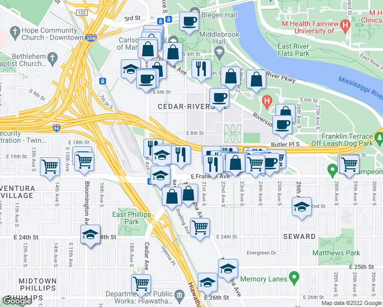 map of restaurants, bars, coffee shops, grocery stores, and more near 2001 South 9th Street in Minneapolis