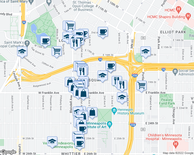 map of restaurants, bars, coffee shops, grocery stores, and more near 1817 Stevens Avenue in Minneapolis