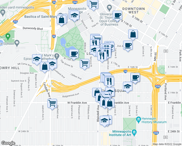 map of restaurants, bars, coffee shops, grocery stores, and more near Oak Grove St & Spruce Pl in Minneapolis