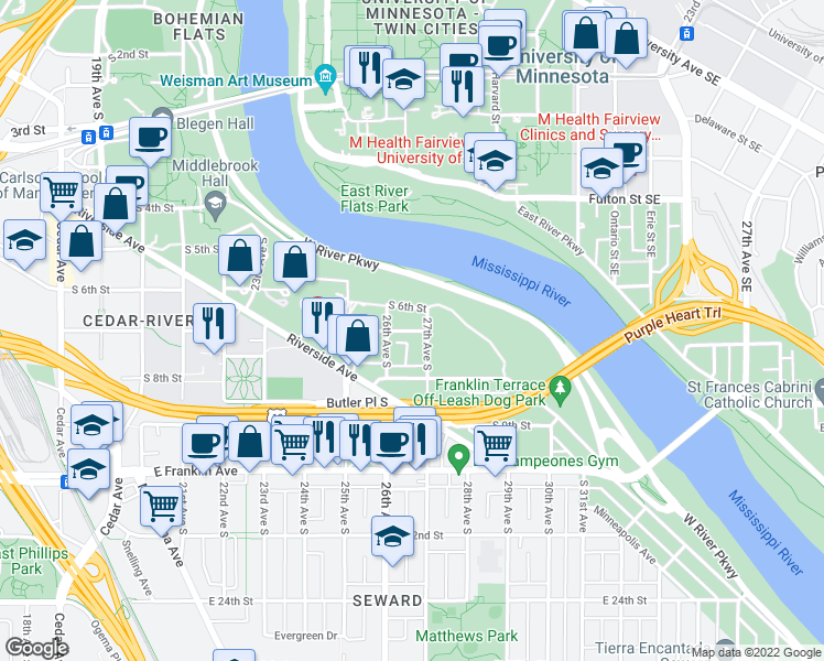 map of restaurants, bars, coffee shops, grocery stores, and more near 2624 South 7th Street in Minneapolis