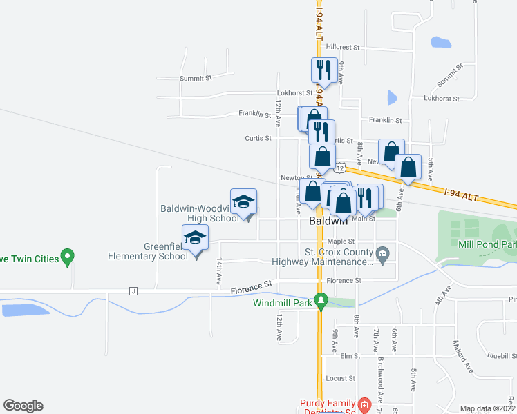 map of restaurants, bars, coffee shops, grocery stores, and more near 1050 13th Avenue in Baldwin