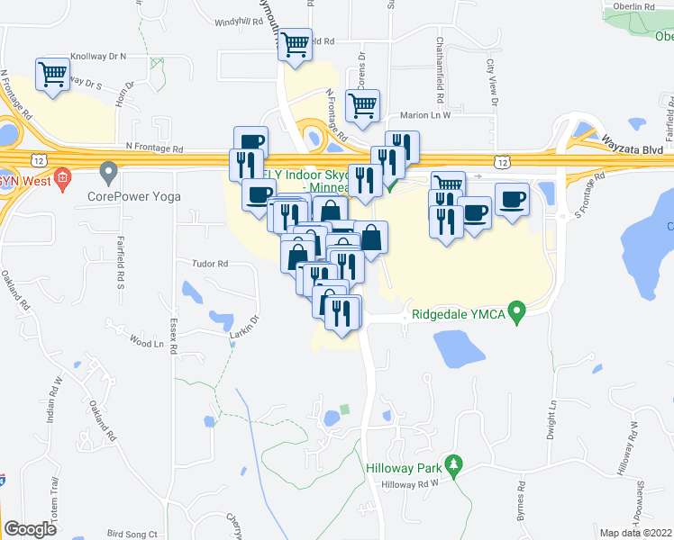 map of restaurants, bars, coffee shops, grocery stores, and more near 1700 Plymouth Road in Minnetonka