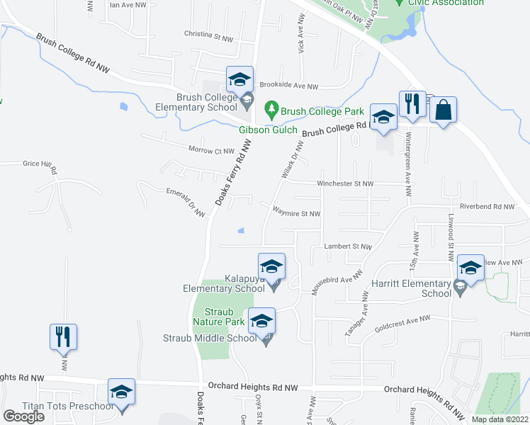 map of restaurants, bars, coffee shops, grocery stores, and more near 2265 Wilark Drive Northwest in Salem