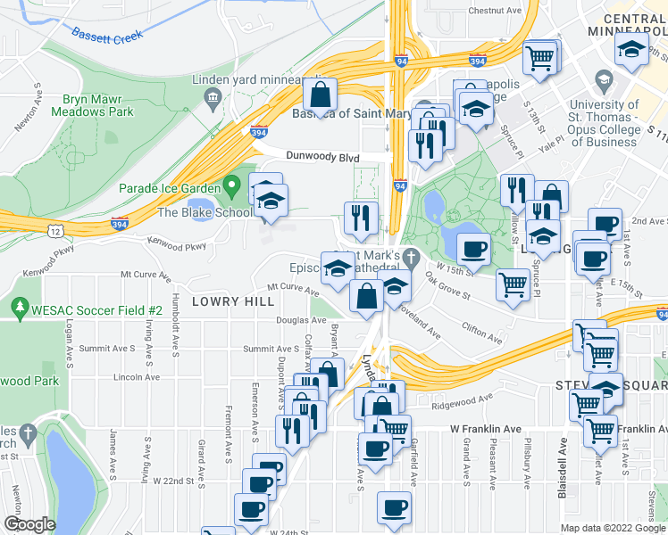 map of restaurants, bars, coffee shops, grocery stores, and more near Bryant Ave S & Groveland Terrace in Minneapolis