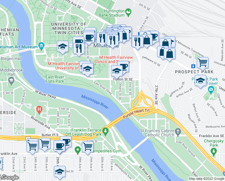 map of restaurants, bars, coffee shops, grocery stores, and more near 629 Southeast Oak Street in Minneapolis
