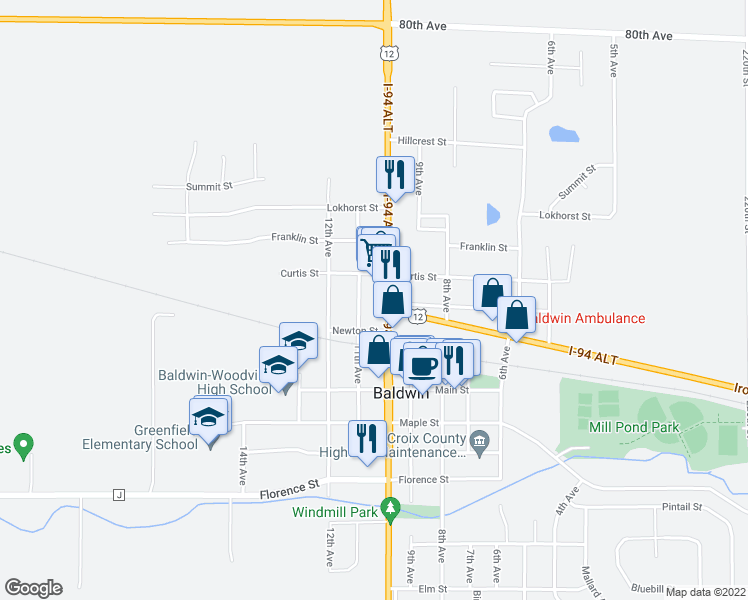 map of restaurants, bars, coffee shops, grocery stores, and more near 810 11th Avenue in Baldwin