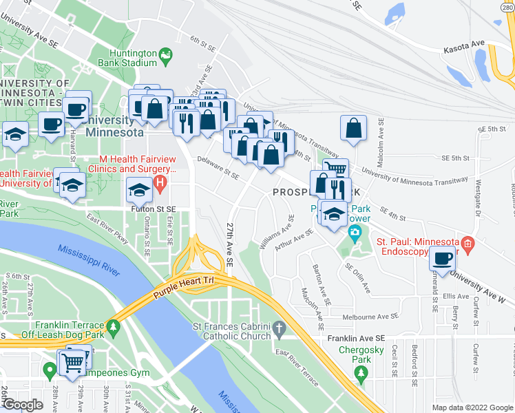 map of restaurants, bars, coffee shops, grocery stores, and more near St Marys Ave SE in Minneapolis