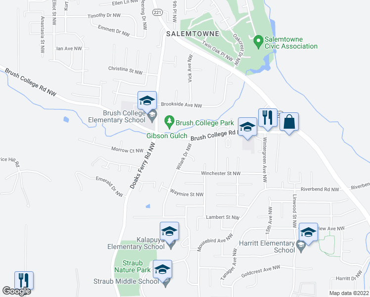 map of restaurants, bars, coffee shops, grocery stores, and more near 2517 Wilark Drive Northwest in Salem