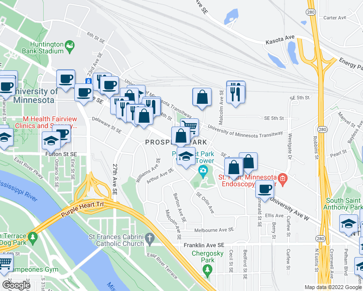 map of restaurants, bars, coffee shops, grocery stores, and more near SE University Ave & Arthur Ave SE in Minneapolis
