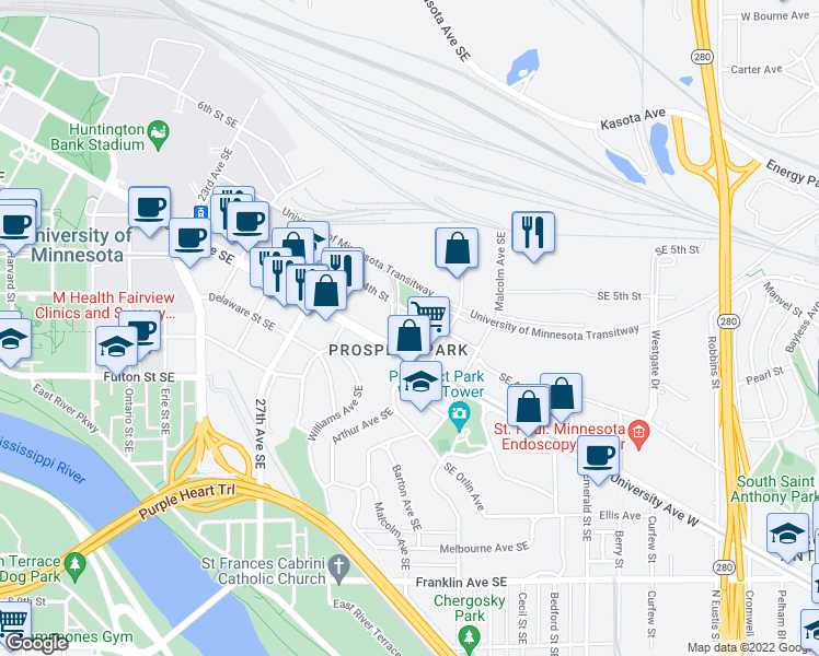 map of restaurants, bars, coffee shops, grocery stores, and more near 3001 Southeast 4th Street in Minneapolis