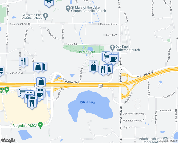 map of restaurants, bars, coffee shops, grocery stores, and more near 900-902 Fairfield Way in Minnetonka