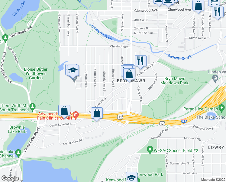 map of restaurants, bars, coffee shops, grocery stores, and more near Cedar Lake Road South & Russell Avenue South in Minneapolis