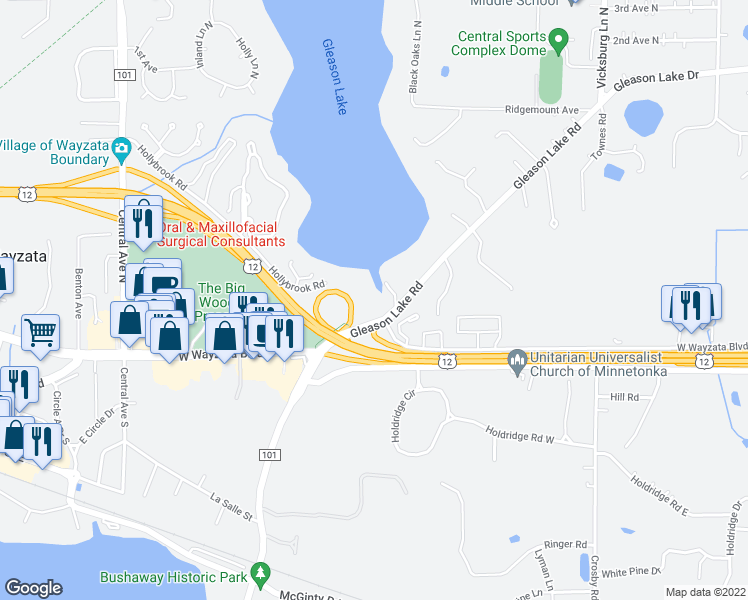 map of restaurants, bars, coffee shops, grocery stores, and more near 155 Gleason Lake Road in Wayzata