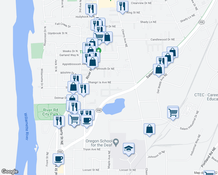 map of restaurants, bars, coffee shops, grocery stores, and more near 722 Shangri la Avenue Northeast in Salem