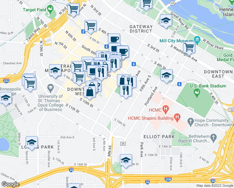 map of restaurants, bars, coffee shops, grocery stores, and more near in Minneapolis