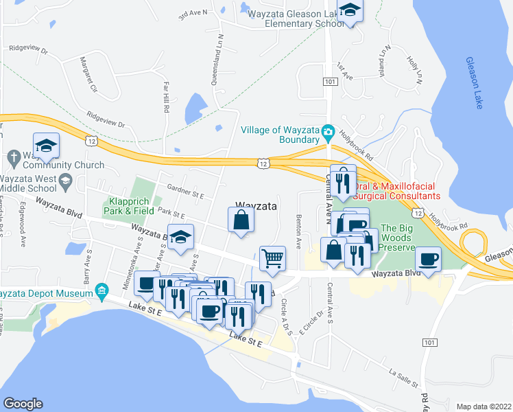 map of restaurants, bars, coffee shops, grocery stores, and more near in Wayzata