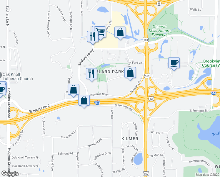 map of restaurants, bars, coffee shops, grocery stores, and more near 1155 Ford Road in St. Louis Park